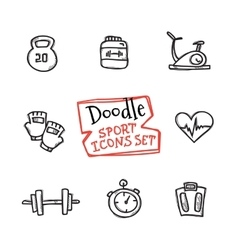 Doodle style line icons sports set cute vector