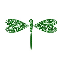 Insect decorative ornamental green dragonfly vector