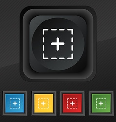 Plus in square icon symbol set of five colorful vector