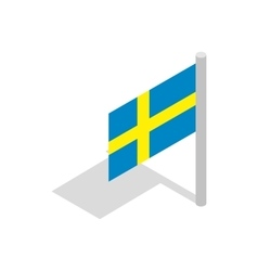 Flag of sweden icon isometric 3d style vector