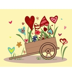 Flower arrangement of colorful hearts in a handcar vector