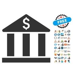 Bank building icon with 2017 year bonus symbols vector