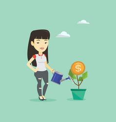 business woman watering money flower vector image