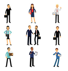 Businesspeople in corporate clothing set working vector