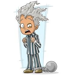 Cartoon crazy man in prisoner robe vector