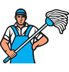 Cleaner with a mop vector