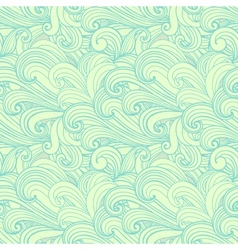 Green hand-drawn pattern waves background vector image vector image