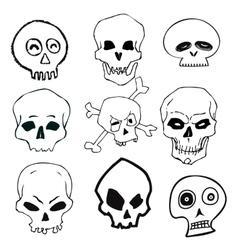 Hand Drawn Skull Set vector image vector image