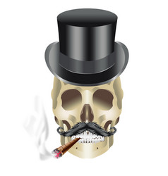 Human skull gangster with hat mustache and sigar vector