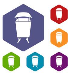Litter waste bin icons set hexagon vector