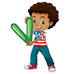Little boy holding letter V vector image vector image