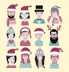 Man and woman in the santa hat men and women vector