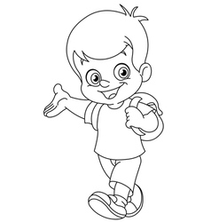 outlined schoolboy vector image