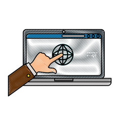 pc laptop business vector image vector image
