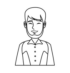Portrait man mustache smiling character person vector
