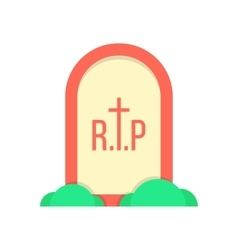 Red grave icon with bushes vector
