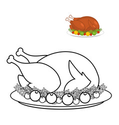Roast turkey for thanksgiving coloring book fowl vector