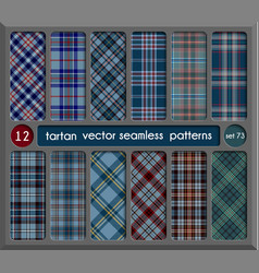 Set in blue tartan seamless pattern background vector