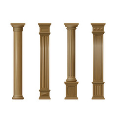 set of classic wood columns vector image vector image