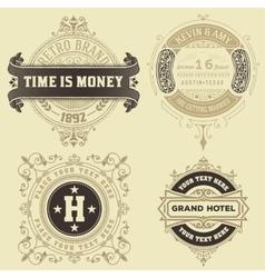 Set of vintage logo templates hotel restaurant vector