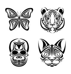 skull butterfly tiger cat tattoo design vector image