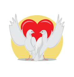 Two doves rise wings up on background of red heart vector