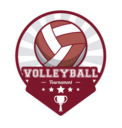 Volleyball sport tournament stamp label vector