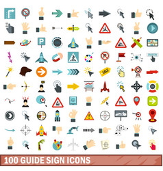 100 guide sign icons set flat style vector