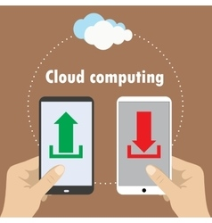 Hand holding smartphone cloud computing vector image