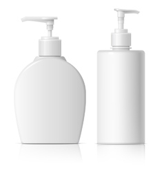 Realistic dispenser set for soap vector