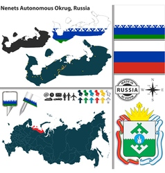 Map of Autonomous Okrug Nenets vector image