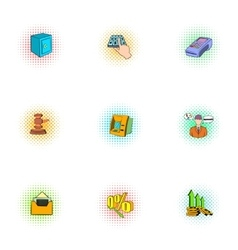 Funding icons set pop-art style vector