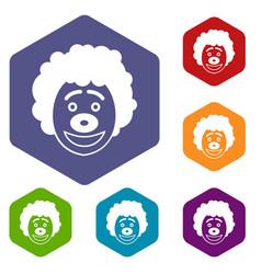 clown head icons set vector image