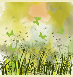 Background with green grass wild herbsdandelions vector
