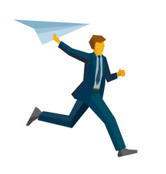 Running businessman with a paper plain vector