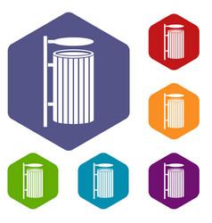 Public trash can icons set hexagon vector