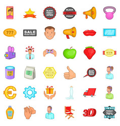 advertising around us icons set cartoon style vector image