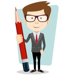 Businessman in jacket with a big red pencil vector
