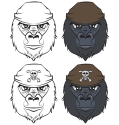 Set gorilla head tattoo vector