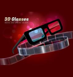 3d glasses movie cinema object vector image