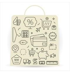 Shopping icons set thin line vector