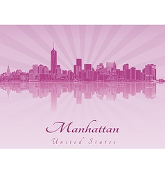 Manhattan skyline in purple radiant orchid vector