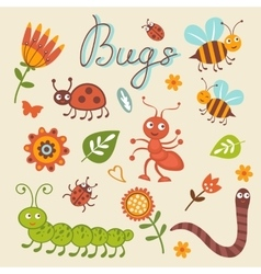 Cute collection of happy little bugs vector