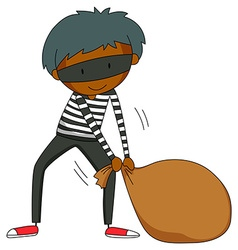 Robber dragging brown bag vector