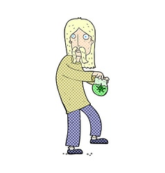Comic cartoon hippie man with bag of weed vector