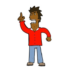 Comic cartoon angry man making point vector