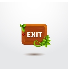 Game interface button exit on wooden template vector