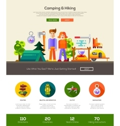 Camping hiking website header banner with vector