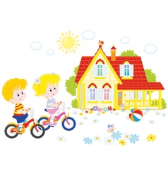 Children riding bicycles vector