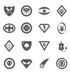 Superhero badges emblems logos icons set vector